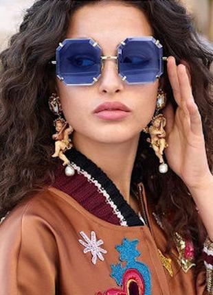 Новинка 2019 трендовые солнцезащитные очки квадраты голубые