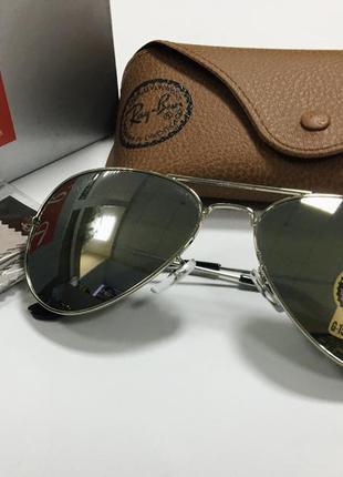 Очки солнцезащитные ray ban aviator линзы стекло