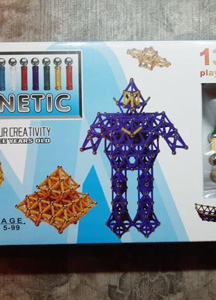 Конструктор магнитный 136 деталей магнетикс magnetix
