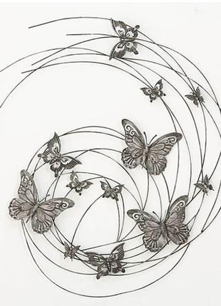 Панно металлическое Бабочки 48 см. серое BST 480547