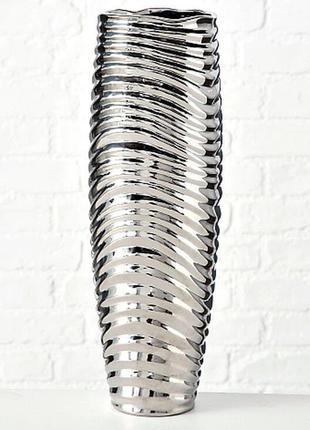 Ваза керамическая 44*15 см. серебристая BST 480522