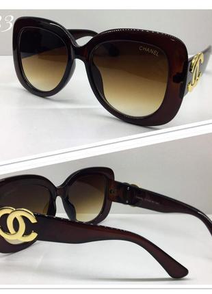 Женские очки солнцезащитные коричневые квадраты оверсайз