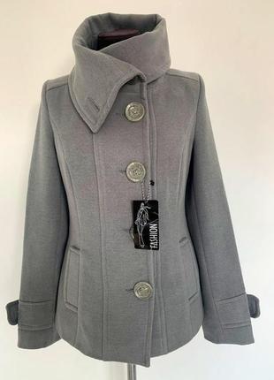 Женское демисезонное пальто кашемир, серое