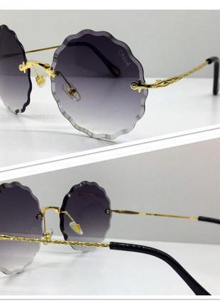 Женские солнцезащитные очки круглые безободковые