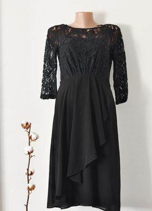 Вечернее шикарное черное платье. гипюр.