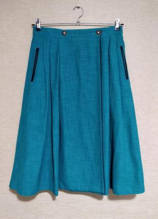 Крутая юбка миди спідниця в складку с карманами на запах
