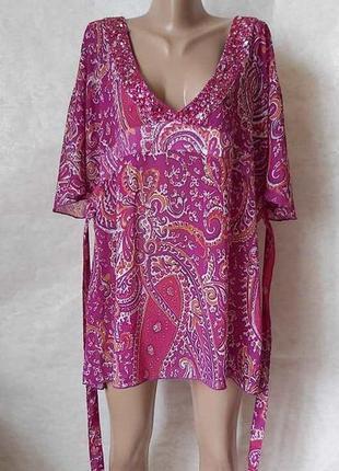 Новая лёгкая шифоновая пляжная туника/пляжное платье с декольт...