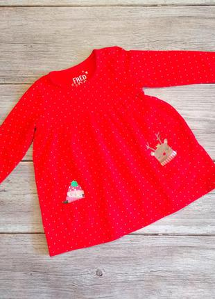 Платье новогоднее f&f на девочку 6-9месяцев