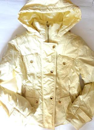 Демисезонная куртка золотистая р.xs (ог 88)