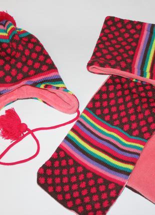 Шапка с шарфом на флисе для девочки