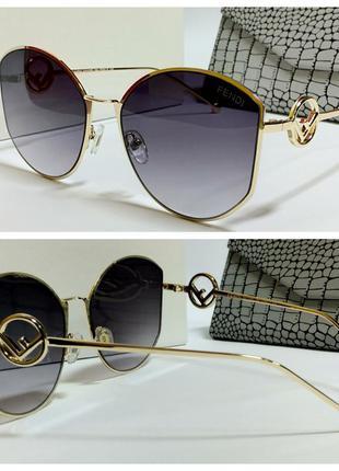 Стильные  серые женские очки с металическими дужками код 335