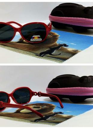 Детские солнцезащитные очки с поляризацией в красной оправе ( ...