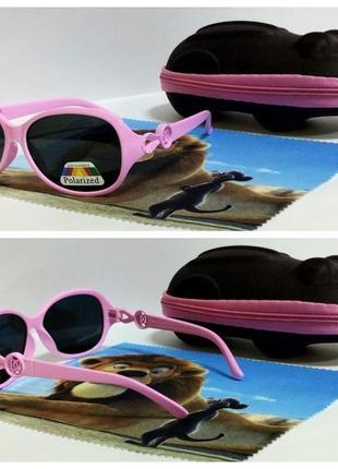 Детские солнцезащитные очки с поляризацией в розовой оправе ко...