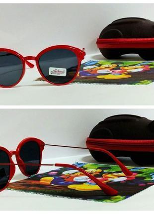 Очки детские солнцезащитные  в красной оправе ( код 3307)