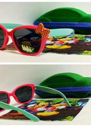 Детские солнцезащитные очки бантик в розовой оправе ( код 18)