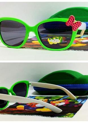 Детские солнцезащитные очки бантик в  зеленой оправе ( код 18)