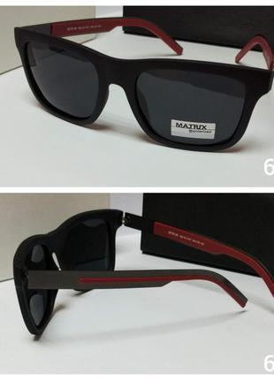 Мужские очки черные в матовой оправе линза с поляризацией