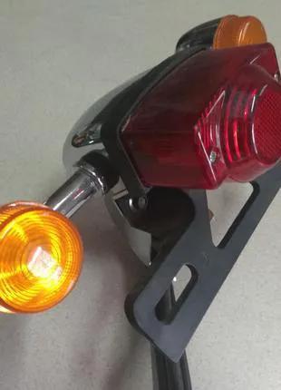 Стоп-сигнал с поворотами и креплением номера для мотоцикла