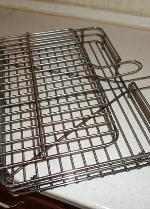 Решетка для гриля и барбекю из бортом 40х30х5 см НЕРЖАВЕЙКА!!!.