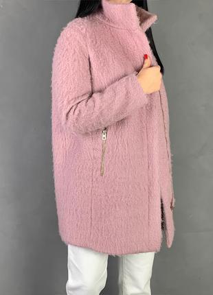 Пальто на змейке шерсть /пудра h&m
