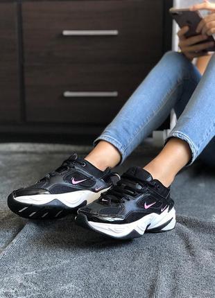 Женские кроссовки nike m2k tekno black white, найк демисезонные