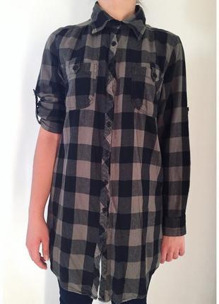 Рубашка-туника, рубашка, длинная рубашка в клетку.