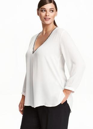 Блуза h&m с вышивкой бисером размер 46