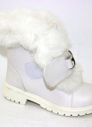 Зимние детские белые ботинки на липучке с мехом для девочек