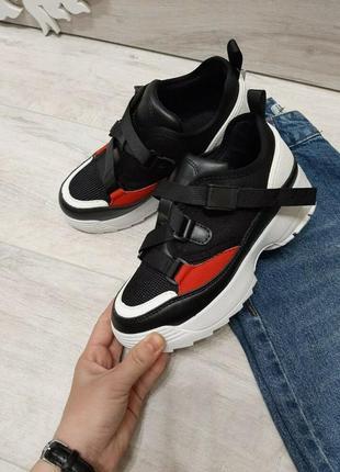 Sale черные красные кроссовки на ремешках кеды дышащие