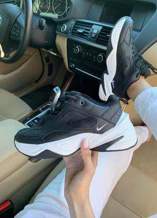 Nike m2k tekno black white, женские кроссовки найк черные деми...