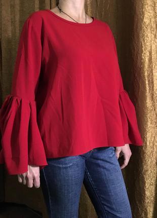 Красная блуза (кофта) с воланами на рукавах от zara
