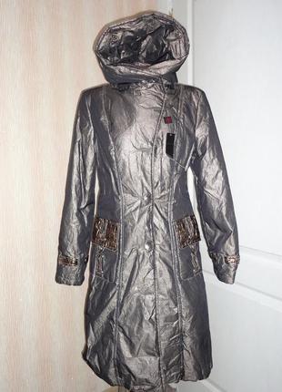 Золотистая куртка зимнее пальто зимний пуховик на холофайбере ...