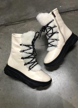 Новые зимние ботинки, ручная работа, кожа и шерсть