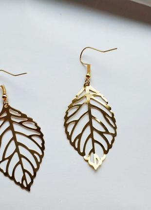Серьги листья золотые. сережки листок