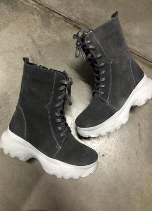Новые зимние ботинки, ручная работа, замша и шерсть