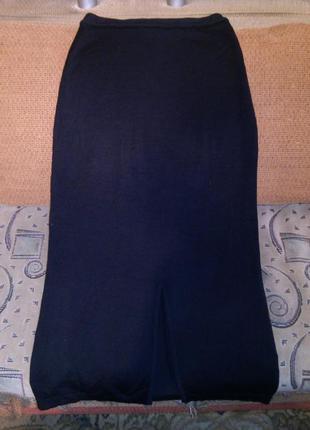 Тёплая,длинная,трикотаж.вязки,юбка-карандаш на резинке,с разре...