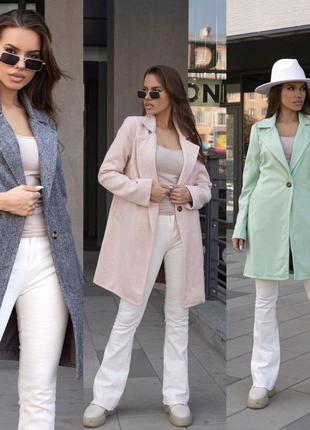 Пальто с пуговицей из кашемира-шерсть, принт ёлочка, с кармана...