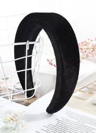 Женский бархатный ободок для волос / обруч для головы чёрный