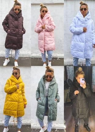 Теплая объемная зимняя куртка зефирка на силиконе, пальто с ка...