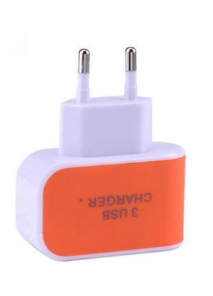 Блок питания на 3 USB порта 5V 3,1A оранжевый