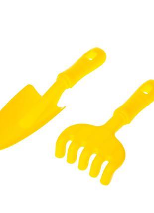 """Песочный набор """"Ромашка"""" №5 1135 грабли, лопатка (Желтый)"""