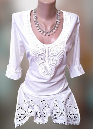 Батистовое платье с кружевами и вышивкой,  индия.