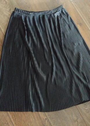 Плиссированная юбка миди, серый металлик