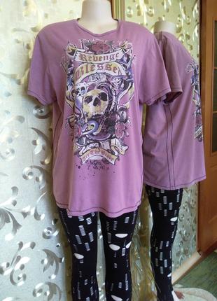 Стильная футболка с черепом, унисекс пог-58 см, бангладеш.