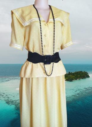 Платье макси желтое в горошек вискоза-100% пог-69 см.
