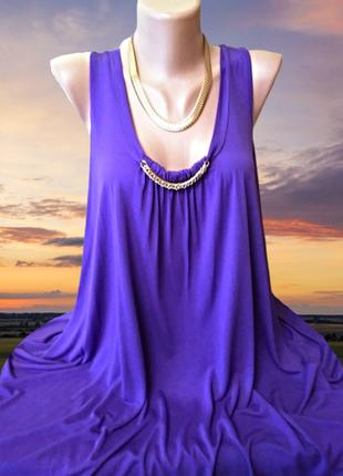 Фиолетовая туника-мини платье marks & spencer большой размер, ...