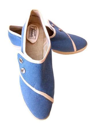 Голубые текстильные румынские мокасины унисекс.