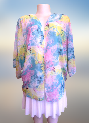 Нежная накидка с рукавом кимоно, новый тонкий кардиган без зас...