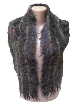 Мужской мохеровый шарф темно серого цвета