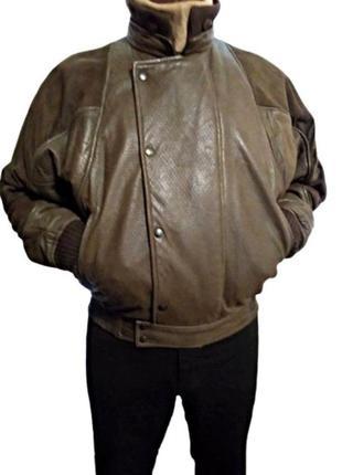 Идеальная мужская кожаная куртка пилот, бомбер на синтепоне pr...